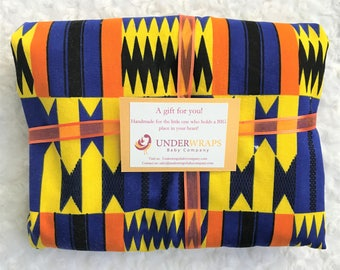 Blue African print baby blanket--Personalized