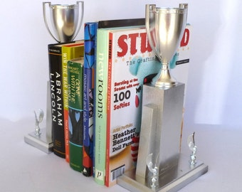 Upcycled VINTAGE TROPHY BOOKENDS
