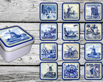Antique Dutch Delft Style on 12 Fridge Magnets - with a  gift box.  FREE SHIPPING