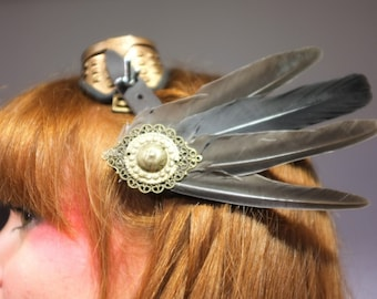 Alligator made with grey feathers for stylish hair clip or pagan steampunk costume