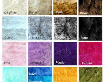 Plush Faux Fur Shaggy Shag Fabric Sample Color Swatches - 16 Colors - Designer Premium Fur by Fur Accents - USA