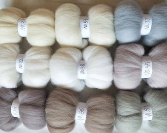 Minimalist Merino Roving for Spinning Felting , 9pcs of 100% Merino Wool Roving  , FREE SHIPPING