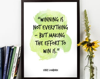 Vince Lombardi, Vince Lombardi quote,  Watercolor Poster, Watercolor art, Wall art quote, Wall Decor, Motivational quote, Inspirational.