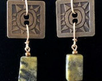 Brass and Serpentine earrings