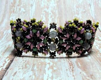 Pink Superduo Bracelet, Beadwoven Bracelet, Seed Bead Bracelet, Beaded Bracelet, Turquoise Bracelet, Black Bracelet, Autumn Bracelet