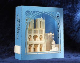 Notre-Dame de Paris, France, Cathedral, pop up card, 3d, France gifts her him, Custom design, invitation, customization gifts, souvenirs