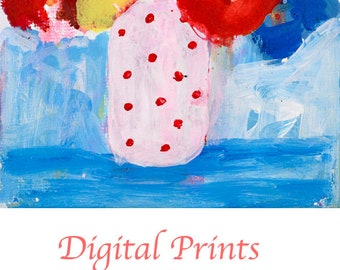 Red Polka Dots Flower Painting Print. Red Abstract Flower Painting. Still life Print. Art Gift for Her Apartment. Digital Print 329