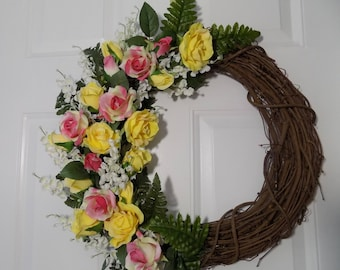 Yellow and Pink Roses on a Half Wreath