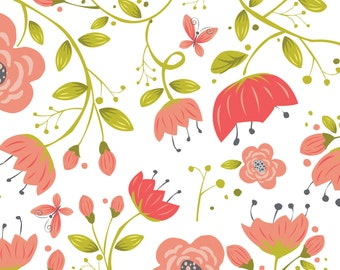 NEW from Camelot Fabrics, Its a Birds Life FLORAL in White by Heather Rosas, yard