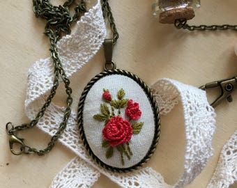 Handmade embroidered necklace, Floral necklace, Rose necklace. Gift for her