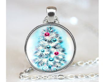 Vintage Christmas Tree Pendant, Christmas Art Pendant, Xmas Tree Necklace, Retro Christmas Tree Jewelry, Bronze, Silver, Holiday Gift 1430