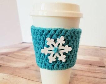 Coffee Cup Cozy, Crochet Coffee Cozy, Aqua Crochet Coffee Sleeve, Reusable cup sleeve, Teacher gift, Snowflake Togo Cup Sleeve
