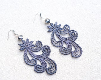 Lace Earrings in Grey with Glass Beads