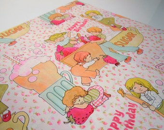 Vintage 1977 Children's Happy Birthday Wrapping Paper Pink Blue Gift Wrap Ice Cream Floats
