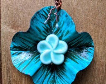 Aqua/Moss Handpainted Flower Pendant with Turquoise Ceramic Focal Point - Foldformed Copper, Brushstroked Patina, Enamel
