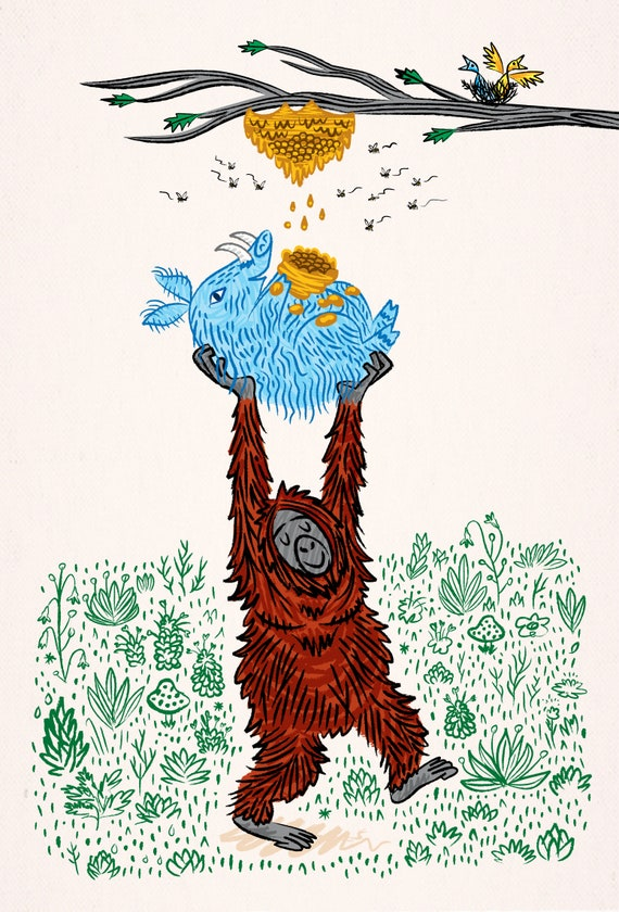 Wild Honey - Orangutan and Warthog - children's animal art illustration - art print - iOTA iLLUSTRATiON