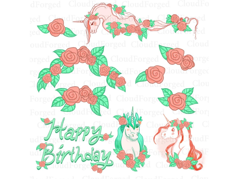 Flower Clipart, Clip Art, Birthday Clipart, Unicorn Clipart,Unicorn ...