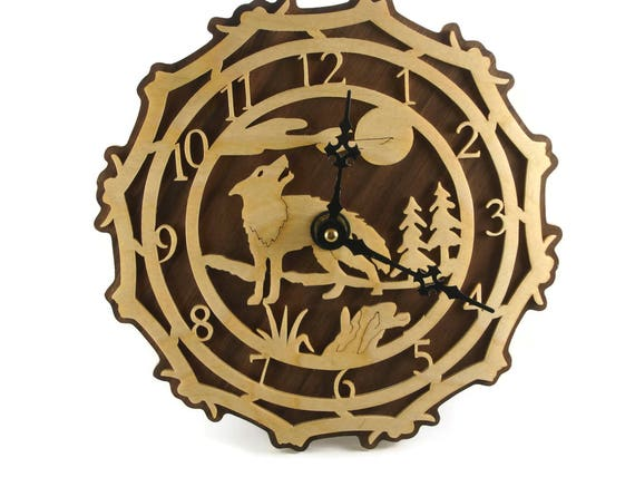 Wolf Scene Wall Hanging Clock Handmade From Birch And Walnut Plywood By KevsKrafts