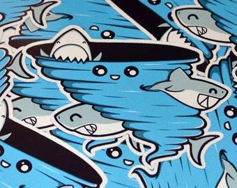 Cutenado Sticker - 3 inch Die Cut Sticker - Sharknado Sticker - Cute Kawaii Shark - Laptop Stickers - Phone Stickers - Shark Art Sharks