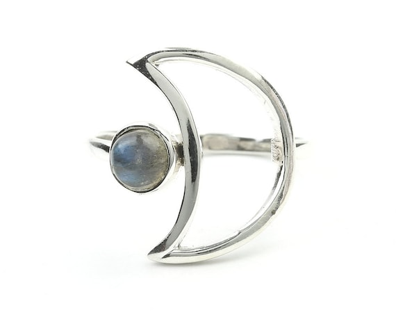 Labradorite Moon Ring, Sterling Silver Crescent Moon Moonstone Ring, Stone Jewelry, Gemstone, Crystals, Boho, Gypsy, Minimal