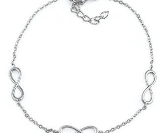 Sterling Silver Triple Infinity Bracelet 7 inches with 1 inch adjustable