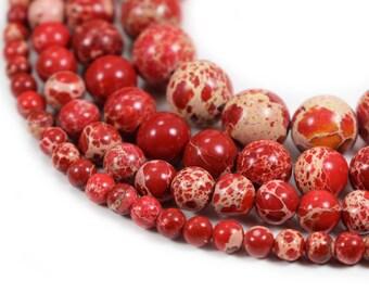 "Red Sea Sediment Jasper Beads 4m 6mm 8mm 10mm 12mm Regalite Round Imperial Impression Stone, 15.5"" Full Strand, Wholesale"