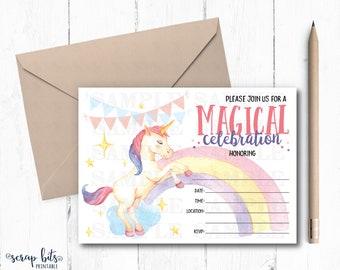 Watercolor Unicorn Invitation, Unicorn Printable Invite, Unicorn Birthday Invitation, Unicorn Party Invite, Instant Download