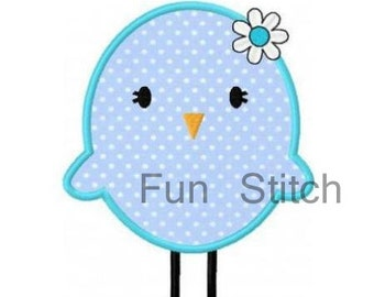 blue chick applique machine embroidery design