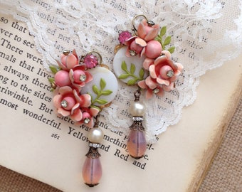 Vintage repurposed jewelry, earrings, peachy pink roses, mother of pearl, enamel, OOAK, feminine, redesigned, floral upcycled, assemblage