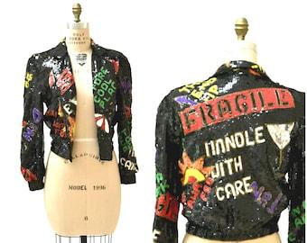 Vintage Black Sequin Jacket 90s pop art Fragile Jacket// Vintage Black Sequin Jacket Bomber Jacket Modi Sequin