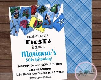 Fiesta Party Invitation, Fiesta Birthday Invitation, Loteria Birthday Party Invitation, Fiesta Loteria Mexicana Invitation, Digital File