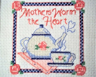 "Cross Stitch ""Mothers Warm The Heart"" - Finished and Framed"