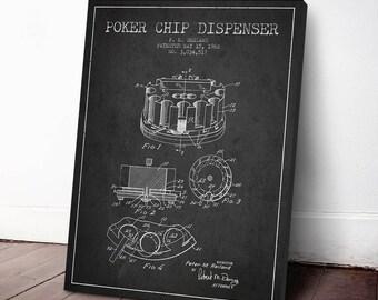 1962 Poker Chip Dispenser Patent, Poker Canvas Print, Poker Art Print, Casino Decor, Casino Print, Wall Art, Home Decor, Gift Idea, GT27C