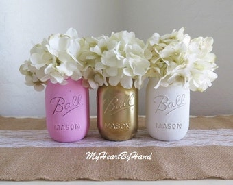 Pink and Gold Baby Shower, Pink abd Gold Baby Shower, Pink and Gold Mason Jars, Painted Mason Jars, Baptism, First Communion, Quinceanera