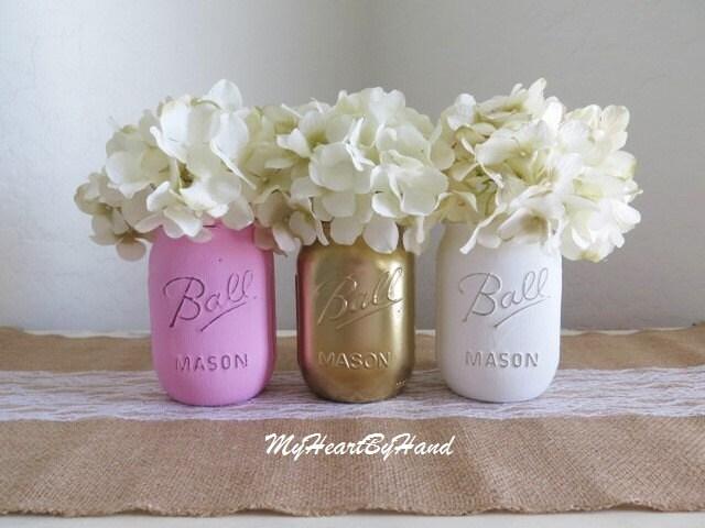 Baby Shower Decor Pink And Gold Mason Jars