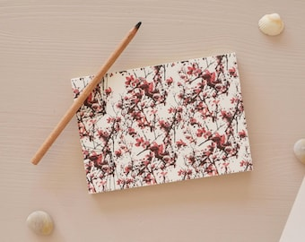 Japanese handbound notebook printed with a red floral pattern, Pocket size, choose your paper, for drawing or writing