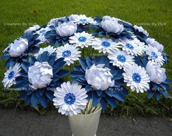 Nautical Theme Wedding Paper Flowers - Blue and White Paper Flowers -  Stemmed - 25 pcs - Made to Order - For Weddings & Events, Centerpiece