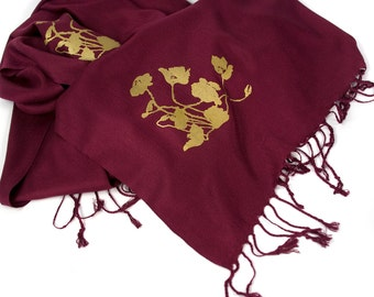 3 screen printed pashmina scarves, any of our designs, bridesmaid package, wedding discount, matching design. Vegan safe.