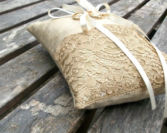 Ring Pillow, Wedding ring Cushion in Champagne Raw  Silk With a Strip of Vintage  Golden Brown Lace