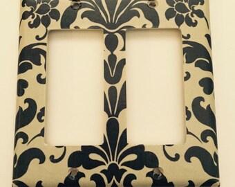 Negro y Brown Damask hogar decoración personalizada luz interruptor de tapa de la placa * vario tipo cubre disponibles *