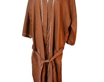 Mens Vintage Robe Plaid Robe