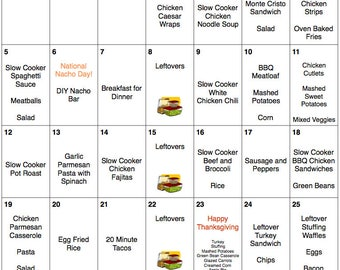 November Menu Plan with Thanksgiving Menu - Meal Planner with Grocery List and Recipes - Monthly Meal Plan - Weekly Meal Plan