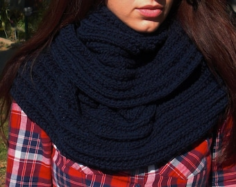 infinity scarf knit infinity scarf navy blue scarf ribbed scarf rib knit scarf circle scarf eternity scarf christmas gift
