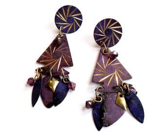 Vintage Stamped Metal Dangle Earrings Arrowhead Boho Purple Paint Mixed Media Beaded Pierced Post Chandelier