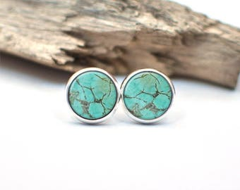 Turquoise Howlite Earrings, Turquoise Stud Earrings, Dangle Earrings, Drop Earrings, Handmade Earrings, Glass Dome Earrings, Gifts For Her