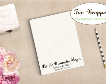 Wedding Notepad Favour - Let the Memories Begin Custom Personalized Note Pad with Names Date Message