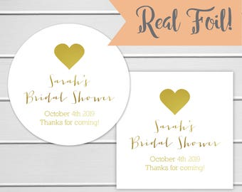 Color Foiled Bridal Shower Stickers, Bridal Shower Labels, Shower Stickers (#031-F)