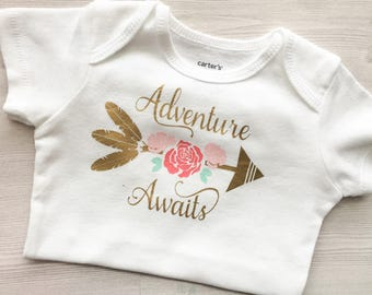 Adventure Awaits Onesie, Baby Girl Onesie, Floral Onesie, Arrow Onesie, Baby Shower Gift, Infant bodysuit, Baby Girl Bodysuit