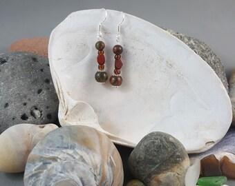 Picasso Jasper Earrings Beaded Earrings Handmade Earrings Drop Earrings Boho Earrings Gemstone Earrings Beaded Sterling Silver Jewelry