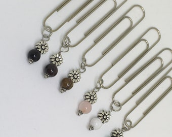 sunflower silver paperclip charm